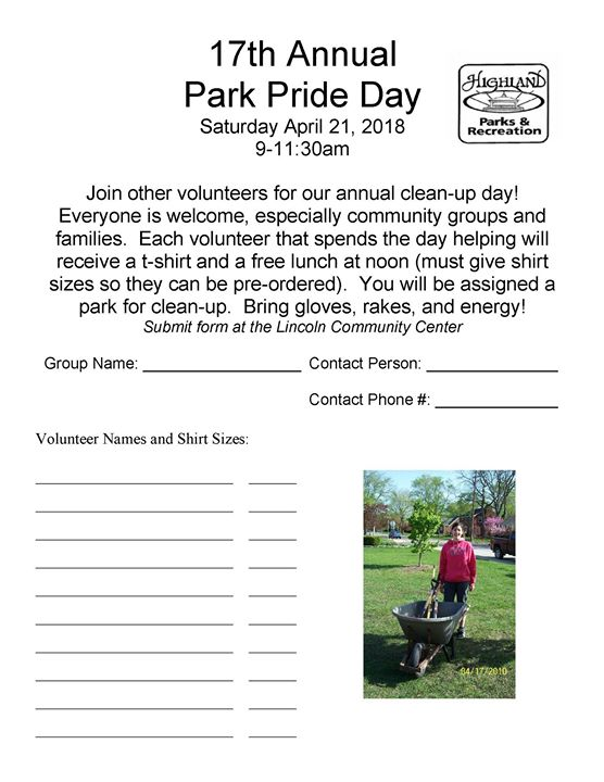 Park Pride Day   Highland Parks and Recreation